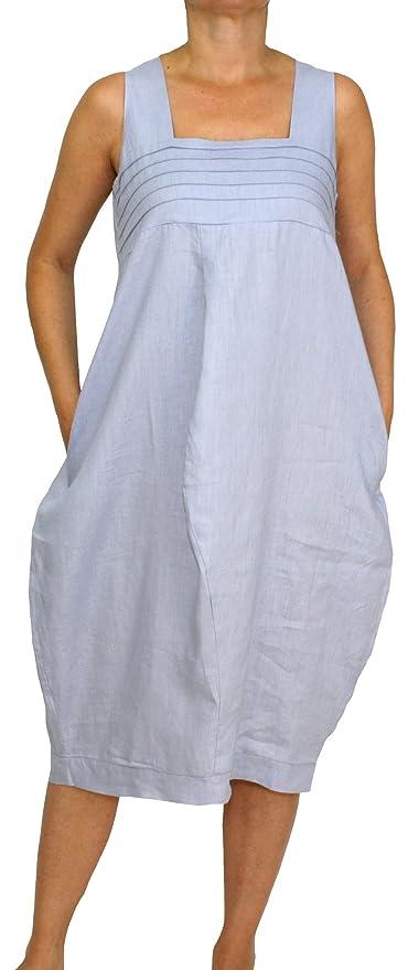 13f06570e5f Perano 24098 Damen Leinen Sommerkleid Ballonkleid  Amazon.de  Bekleidung