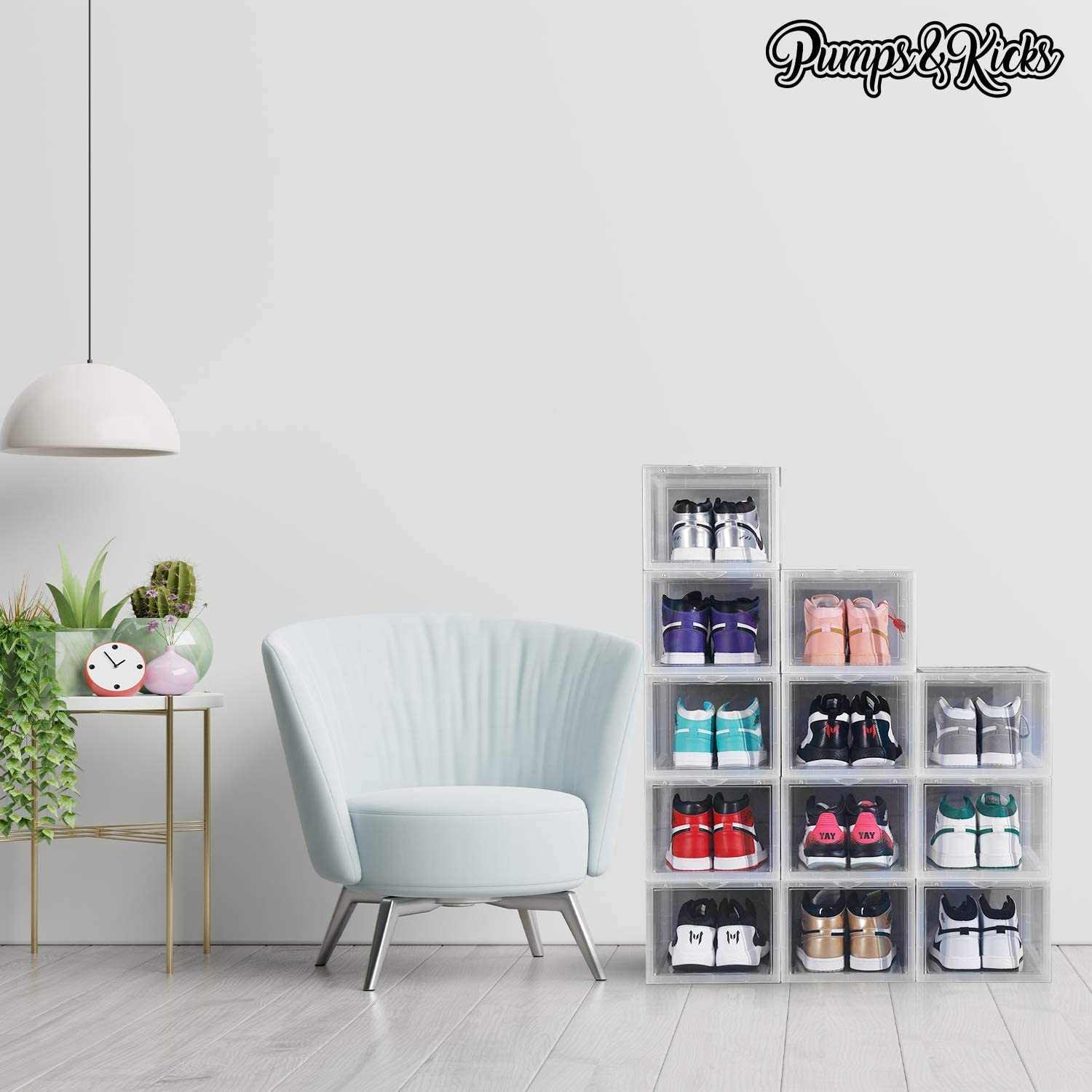 PUMPS/&KICKS Shoe Storage Organizer Boxes Mens Size 16 and Womens high Heels Clear Plastic Extra Large for high top Sneakers Stackable for Closet Drop Front Opening Container Bins 3 Pack