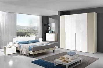 Camera Da Letto Bianco Lucido : Camera da letto moderna flavia in essenza larice crema e laccato