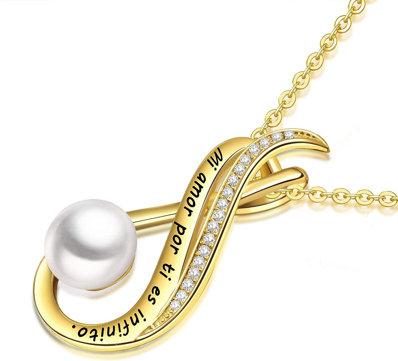 LOVORDS Pulsera Mujer Grabado Plata de Ley 925 con Perlas Cultivadas Blancas de Agua Dulce Regalo Amor Esposa Novia