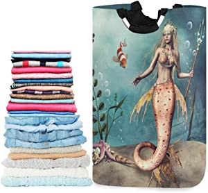 visesunny Collapsible Laundry Basket Mermaid Clown Fish Large Laundry Hamper with Handle Toys and Clothing Organization for Bathroom, Bedroom, Home, Dorm, Travel