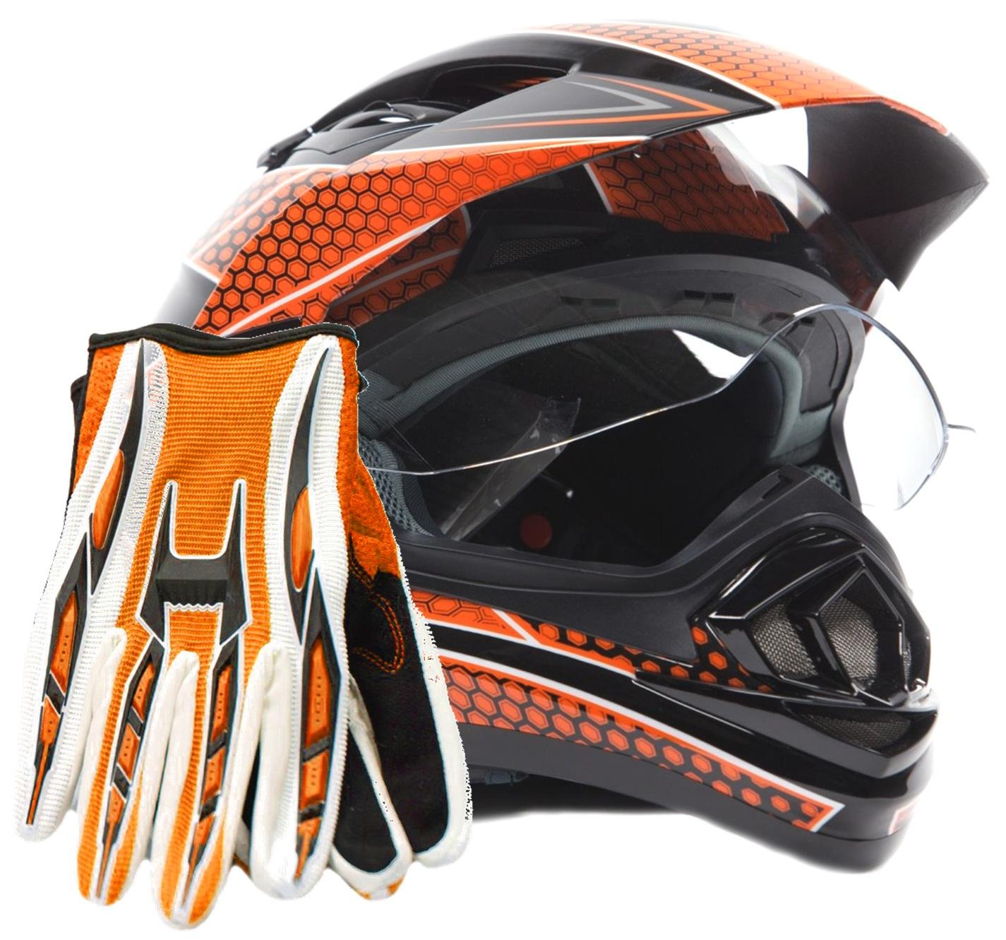 Dual Sport Helmet Combo w/Gloves - Off Road Motocross UTV ATV Motorcycle Enduro - Orange, Black - Large