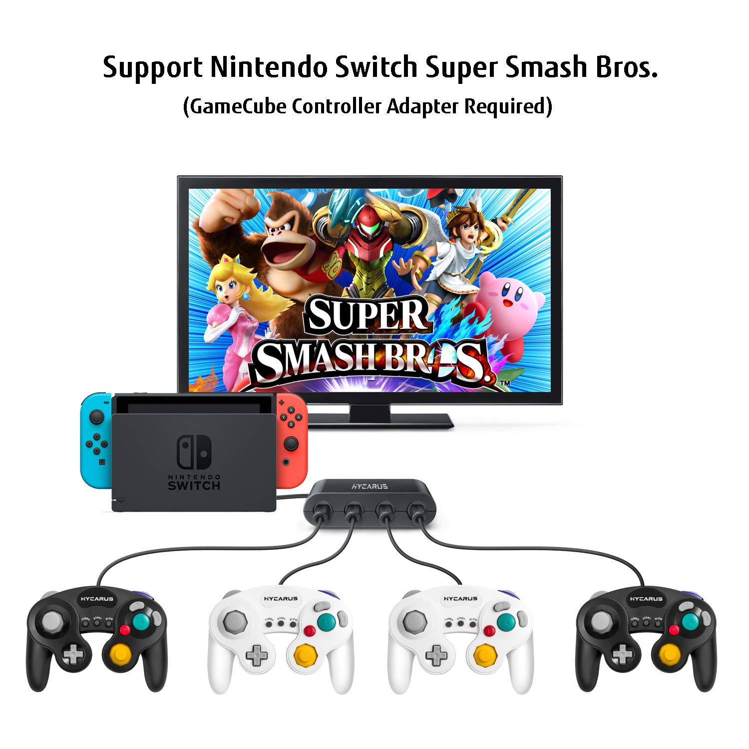 Gamecube Controller Hycarus 2 Packs 9 Feet Wired Wiring Diagram Right Stick With Turbo And Slow Functions For Wii Compatible Nintendo Switch