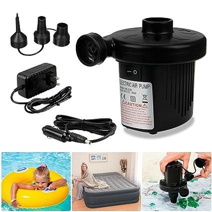 Bomba de Aire Eléctrica, AODOOR Bomba de Aire con 3 Boquillas, Inflador Electrico Colchones Inflables/deflactor para Piscinas, Barcos, Juguetes ...