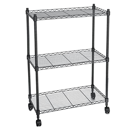 anfan 3 tier wire shelving rack heavy duty storage shelf with wheels for kitchen garage - Heavy Duty Storage Shelves