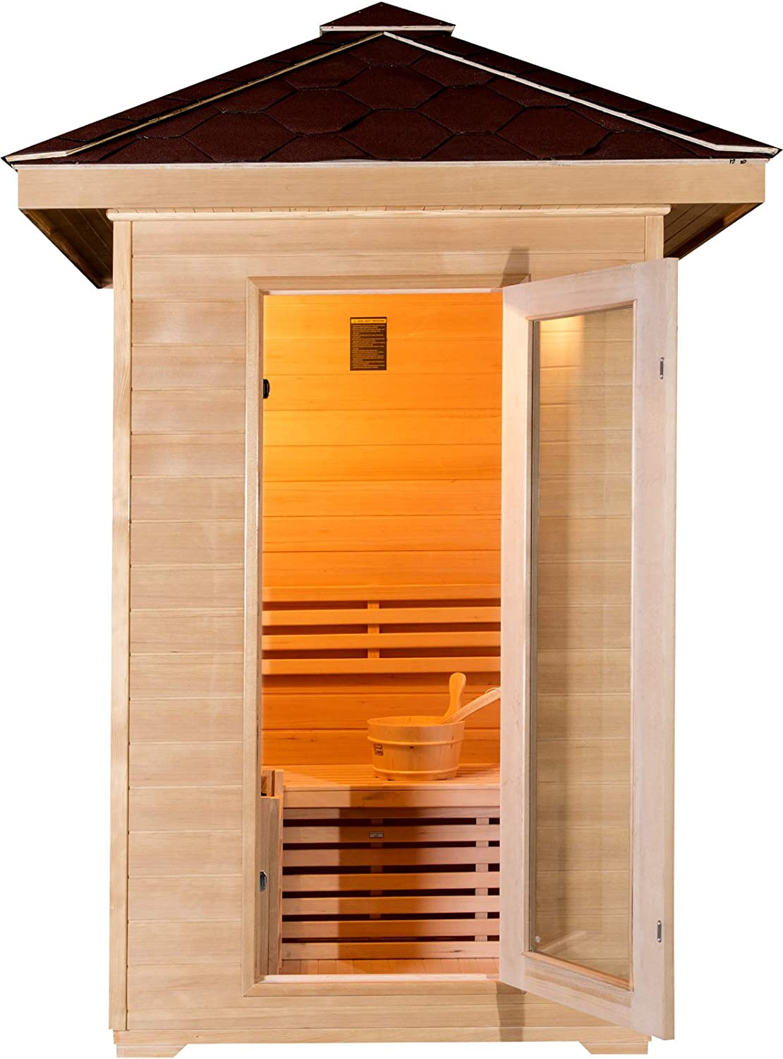 Rocks SDI Factory Direct 48 2 Person Canadian Hemlock Traditional Wet//Dry Steam Indoor Sauna SPA with 6KW Heater Bucket Ladle SYM02SS Bluetooth