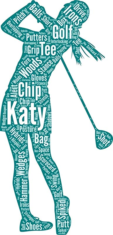 Golf wall art, Personalized Golf Decor, Golfing gifts for her, Birthday Gifts, Word Art Typography Golf lover Golfing Woman Custom Print for Wall Decor…