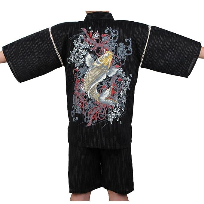 Fancy Pumpkin Traje de Pijama Kimono de Estilo japonés Jinbei para Hombres XL-03