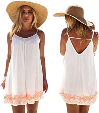 YINROM Women Mini Dress Summer Boho Evening Party Beach Backless Skirts Sundress