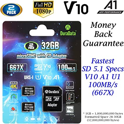 2-Pack TF Card 32GB Micro SD SDHC Card Plus Adapter (Amplim MicroSD Memory Card V10 A1 Class 10 UHS-I) 2X 32 GB Ultra High Speed 100MB/s 667X for Cell ...