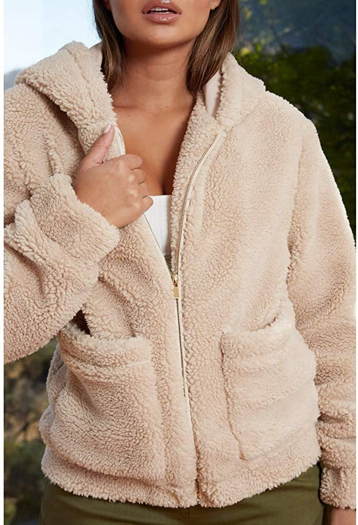 Faux Fur Jacket for Women with Hood Fashion Long Sleeve Fleece Fuzzy Zipper Warm Winter Oversized Outwear Jackets