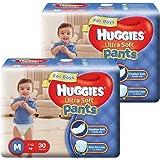 Huggies Ultra Soft Pants Medium Size Premium Diapers for Boys ( 2 x 30 Counts)