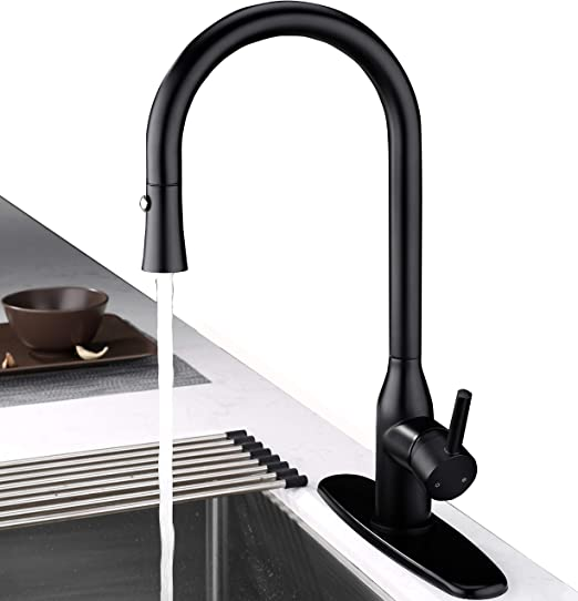 Kitchen Faucet Black, Matte Black Kitchen Faucet with Pull Down Sprayer,  Lead-free Solid Brass Single Lever Gooseneck Kitchen Sink Faucets with Deck  ...