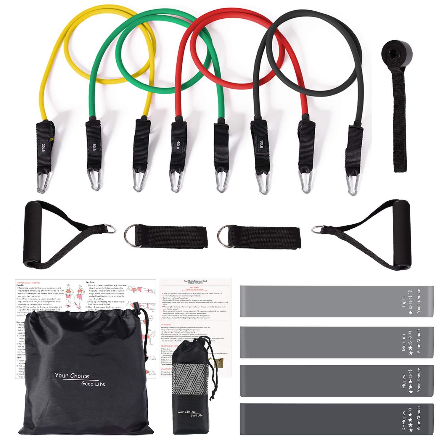 Your Choice 17 pcs Exercise Bands Set with Handle Resistance Bands Tube Workout Bands Fitness Bands for Butt