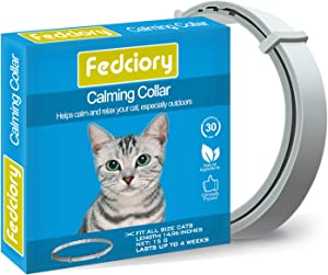 Fedciory Calming Collar for Cats, Adjustable Relieve Reduce Anxiety Pheromone Your Pet Lasting Natural Calm Collar Up to 15 Inch Fits Cat