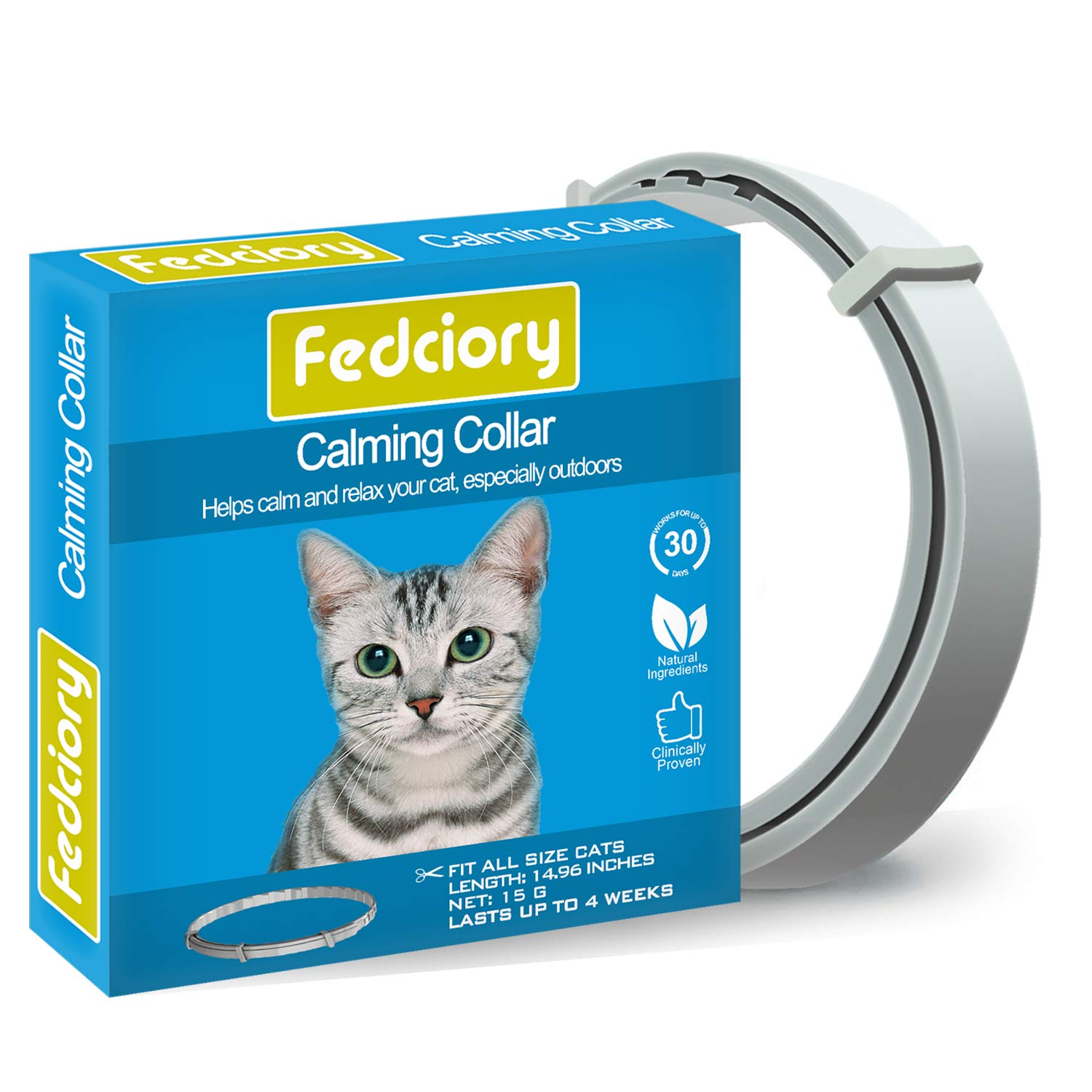 Fedciory Calming Collar for Cats, Adjustable Relieve Reduce Anxiety Pheromone Your Pet Lasting Natural Calm Collarup to 15'' Fits Cat by Fedciory