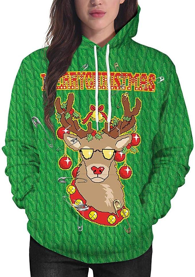 Damen Weihnachten Kapuzepullover Hoodie Sweatshirt Pullover Pulli Sweatjacke Top