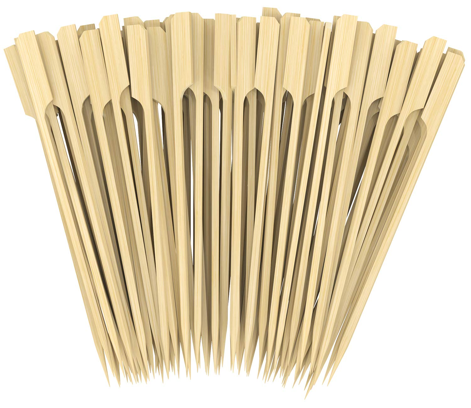 CandyHome Natural Bamboo Picks Paddle Skewers Bamboo Appetizer Skewers Food Grade Cocktail Picks, Grilling, Marshmallows, Fondue, Dessert, Fruit, Sausage and More, 7 Inch 200 Pack by CandyHome