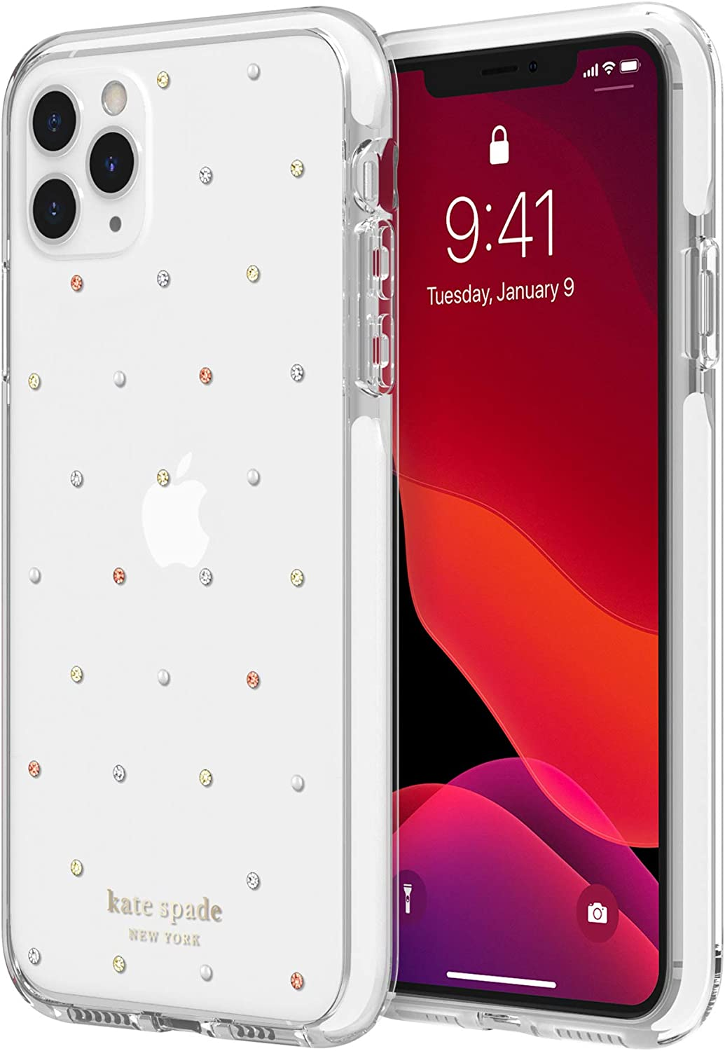 Kate Spade New York New York Defensive Hardshell Case (1-PC Comold) for iPhone 11 Pro Max - Pin Dot Gems/Pearls/Clear/White Bumper (KSIPH-135-PDGPC)