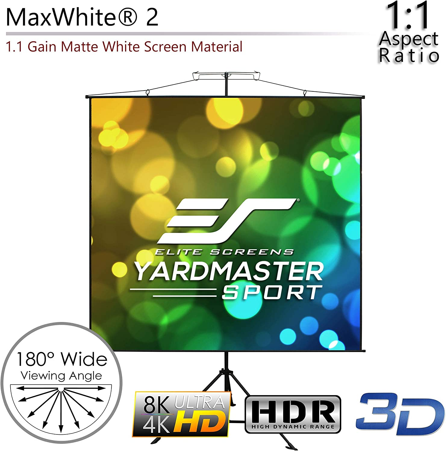 8K // 4K Ultra HD 3D Ready for Movie Home Theater Office 2-Year Warranty 2-in-1 Portable Indoor Outdoor Projector Screen with Carrying Bag Elite Screens YardMaster Sport Series 57 INCH DIAG.