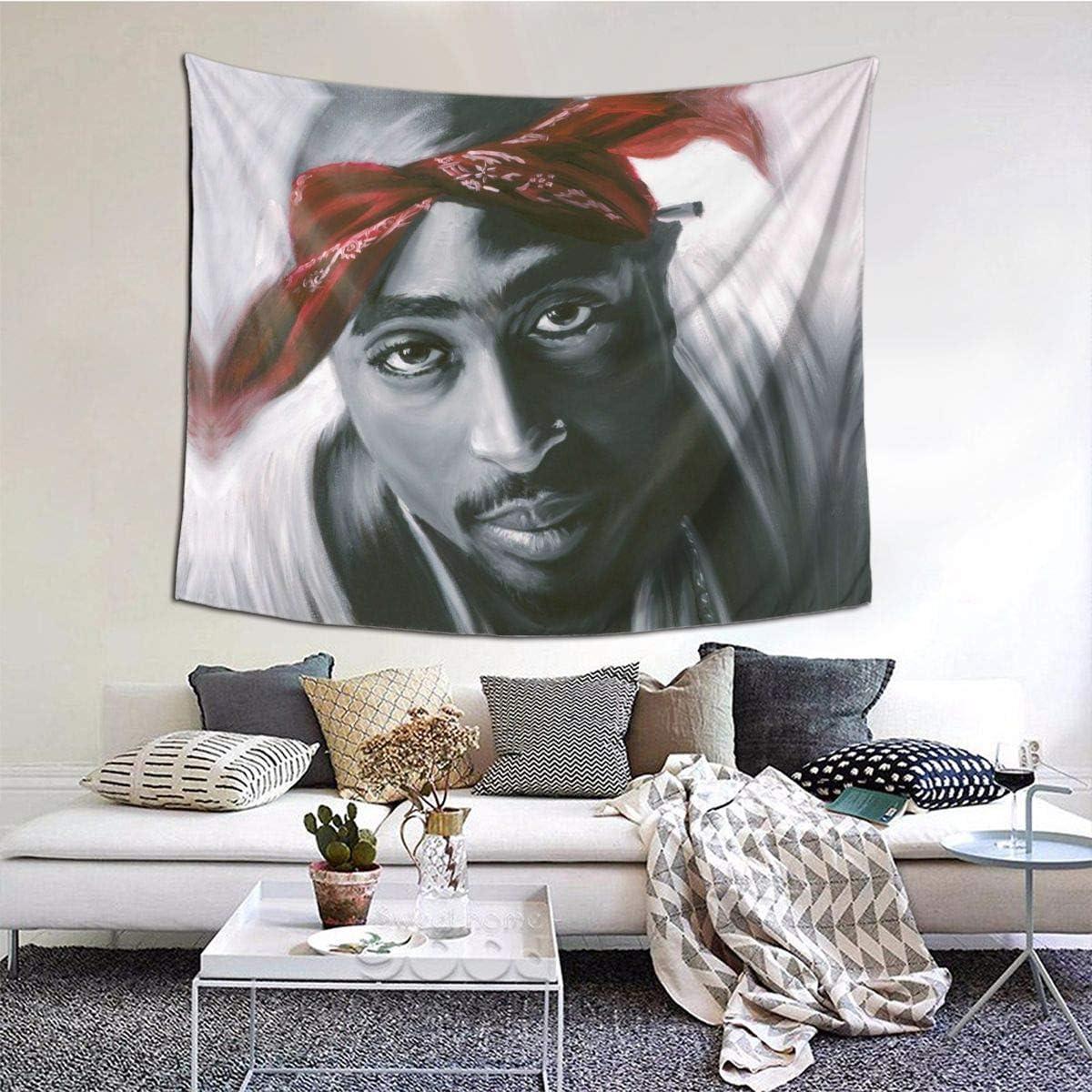 Heart Yan Tu-Pac Sha-Kur Tapestry, 3D Print Wall Art Blanket, Wall Hanging Bedding Decor for Bedroom Living Room Dorm Home College Dorm Room 60 X 51 Inch