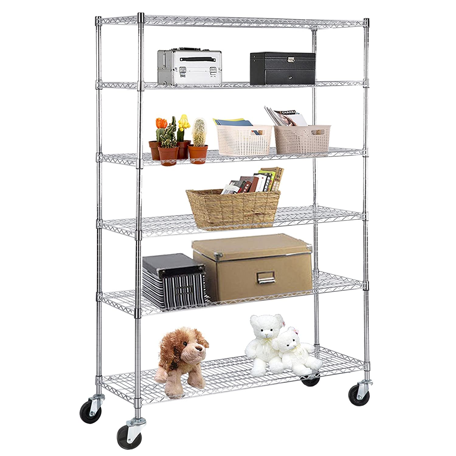 "SUNCOO Wire Shelving Unit Storage Rack Metal Kitchen Shelf Stainless Steel Adjustable 6 Tier Shelves with Wheels Chrome 48"" W x 82"" H x 18"" D"