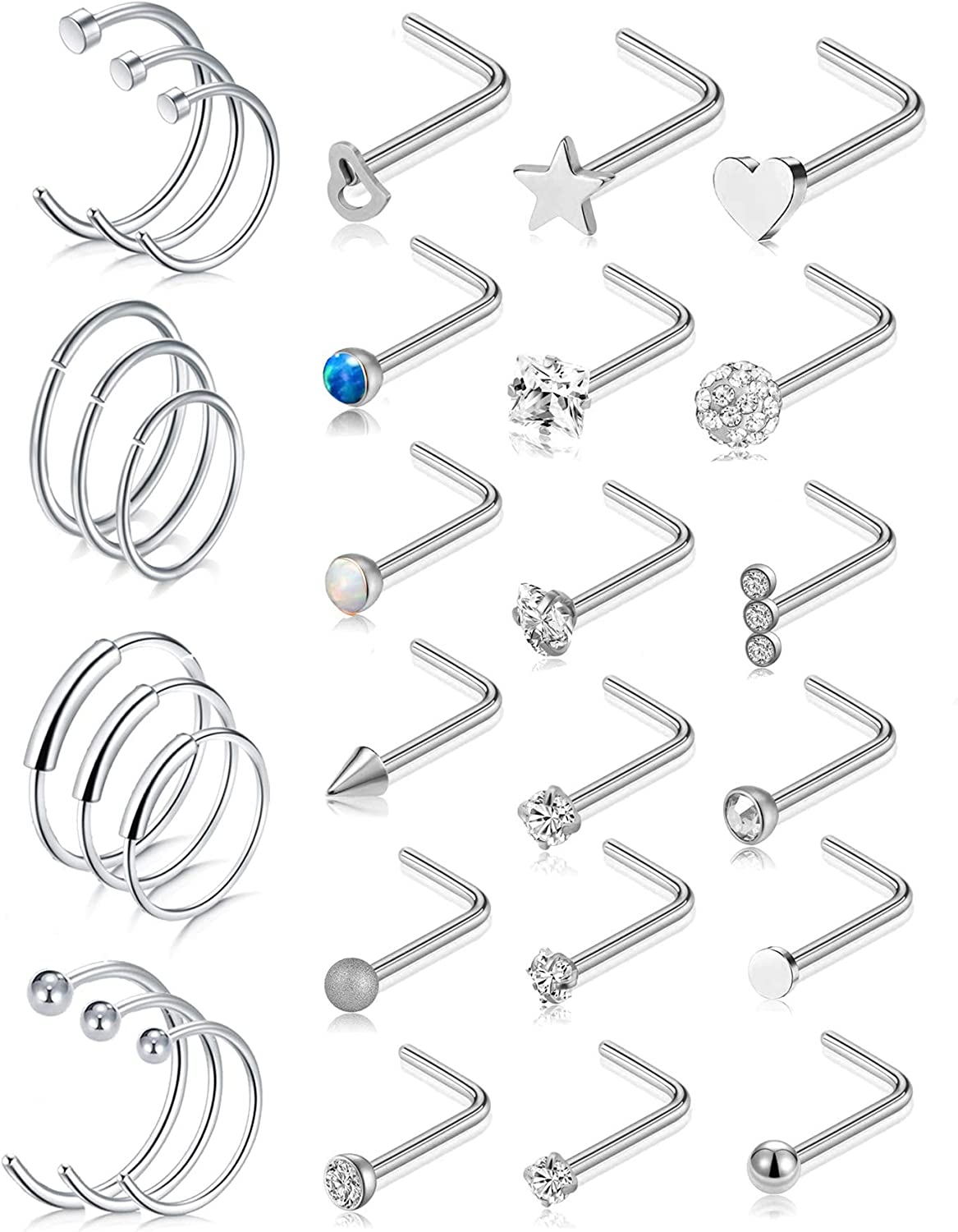 WAINIS 30 Pcs 316L Stainless Steel Nose Stud Ring Nose Hoop Ring Set 20G L-Shape Stud Nose Piercing Body Jewelry Set