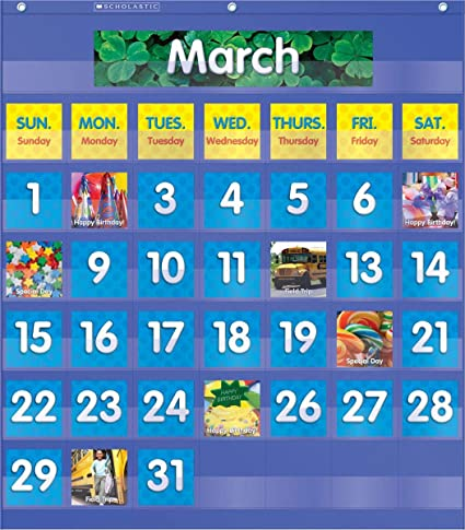 Amazon com monthly calendar pocket chart classroom pocket charts