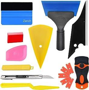 Zanch Window Tint Kit Vinyl Wrap Tools Kit Razor Blades Card Scraper Tool Conqueror Corner Shank Shower Rubber Tint Felt Squeegee Vinyl Knife Car Tinting Windows Film Instal Application Solution 10Pcs