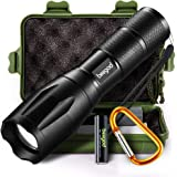 Tactical Led Flashlight, beegod Handheld Bright Led Torch Flashlights Rechargeable (Black-1)
