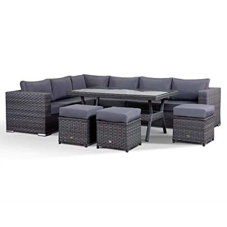 Awe Inspiring Club Rattan Isobella 9 Seater Corner Garden Sofa Set With Dining Table In Grey Interior Design Ideas Gentotthenellocom