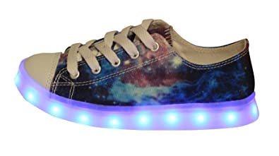 f09a990389905 Amazon.com: Kids¡¯ Fashion Galaxy Print Fabric Led Lighting Sneaker ...