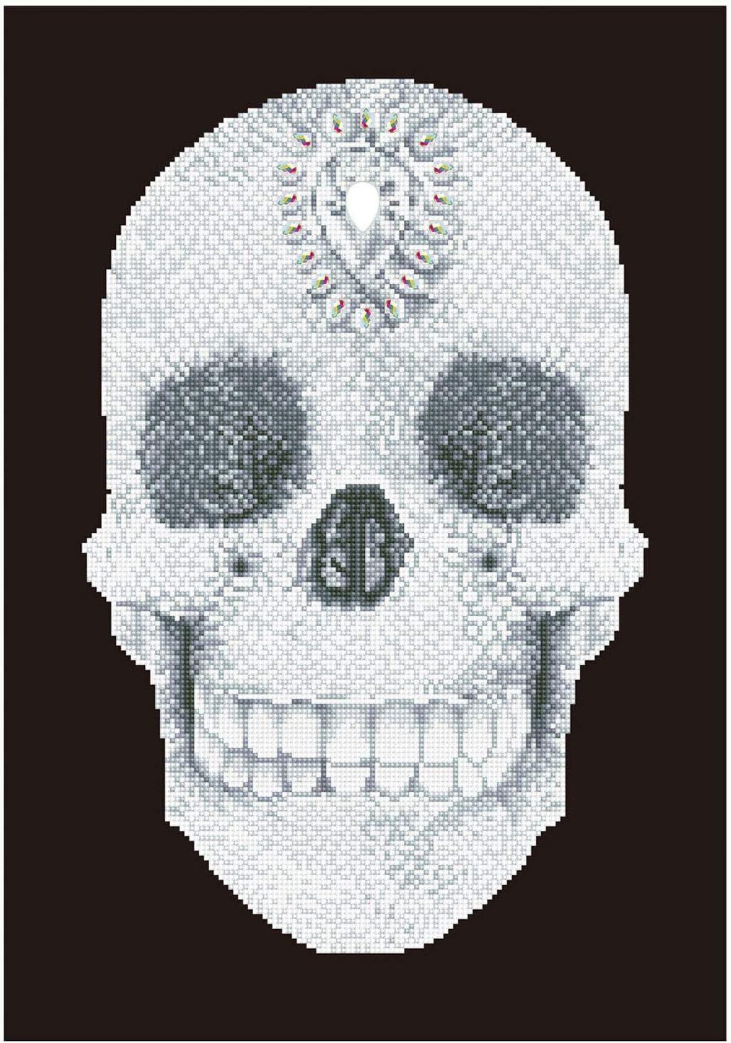 Pracht Creatives Hobby Kit Intermediate Crystal Skull Diamond Dotz Calavera con diamantes para diseñar uno mismo, aprox. Tamaño: 42 x 60 cm, carbón, talla única