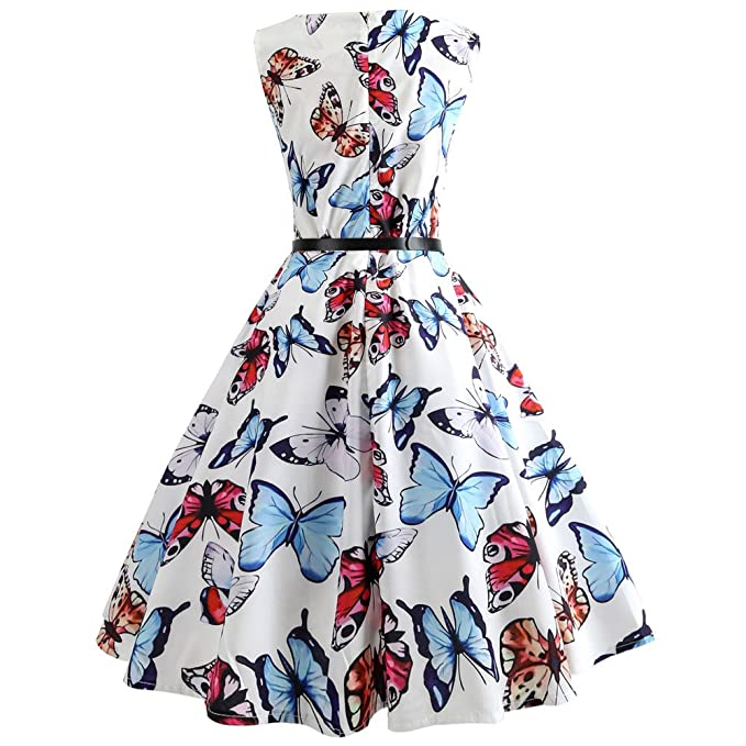 Women Skirt Godathe Women Vintage Printing Bodycon Sleeveless Casual Evening Party Prom Swing Dress S-XXL at Amazon Womens Clothing store: