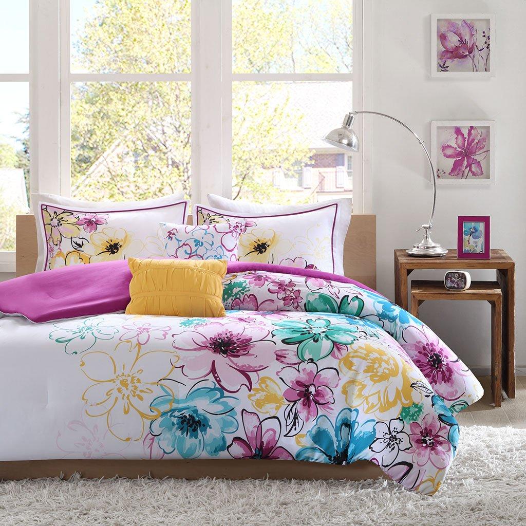 Intelligent Design Olivia Comforter Set Full/Queen Size - Purple Blue, Floral – 5 Piece Bed Sets – Ultra Soft Microfiber Teen Bedding for Girls Bedroom