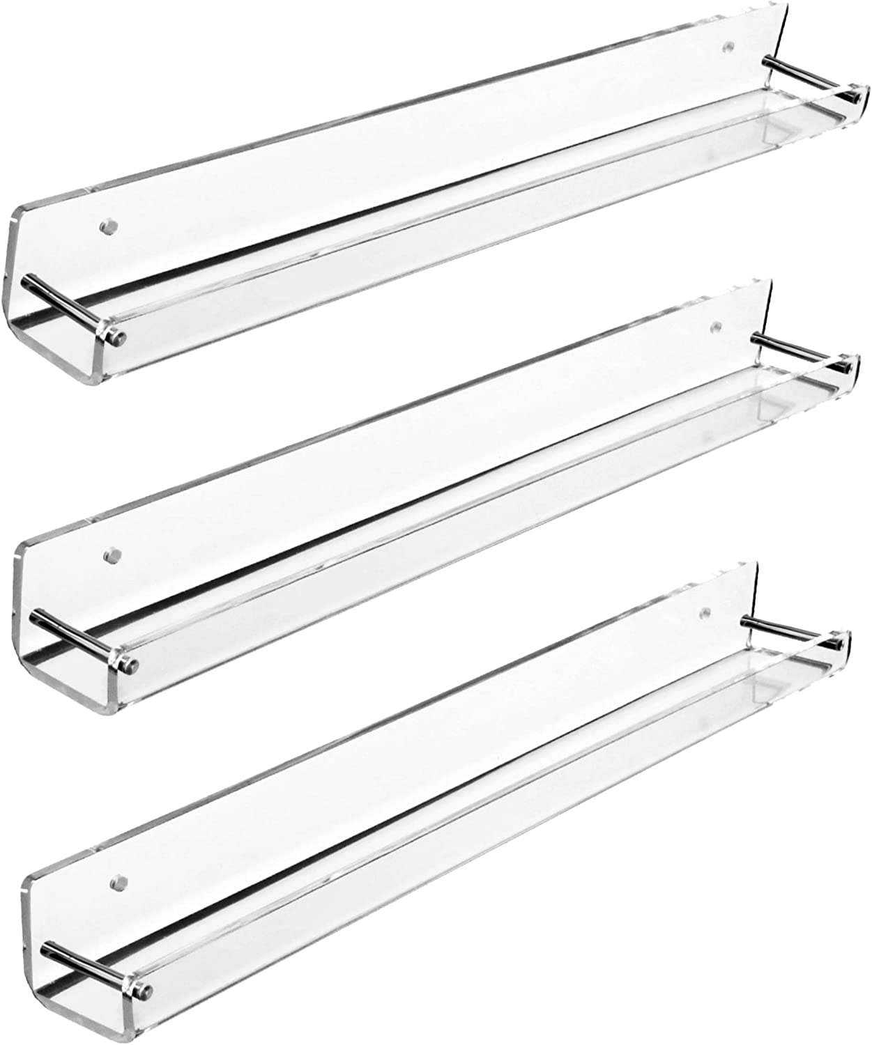 AMT Acrylic Floating Wall Display Shelves (3 Pack, Small) | Clear Acrylic Wall Shelf | Smart Design: Monolithic Products Without Screws or Adhesives!