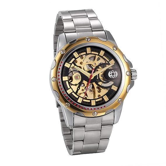 eaa2145f28aa jewelrywe Reloj de Hombre Reloj Mecánico Automático Correa Acero Color  Plata Dorado Reloj Hombres de Regalo Dorado  Amazon.es  Relojes