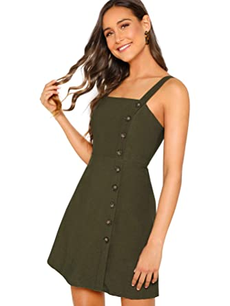 abcc77e2a23 Verdusa Women s Button Front Pinafore Overall Dress at Amazon ...