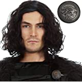 Jon Snow Wig Game of Thrones Costume and Stark Shield Pin – Cosplay Hair for Men