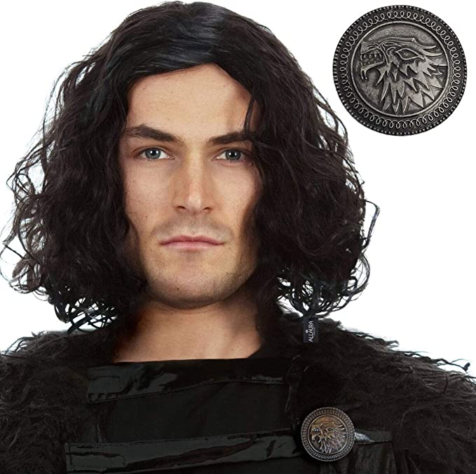 Jon Snow Wig + Stark Shield Pin. Game of Thrones Costume Short Black Curly Cosplay Wigs for Men GoT
