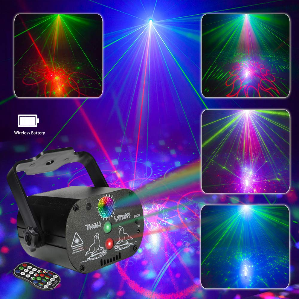 Shine Party Light Stage Laser Lights with Built-in Battery Mini Flash Strobe Light RGB LED DJ Disco Lights Projector by Sound Activated Remote Control for Stage Lighting Birthday Parties by Shinelee