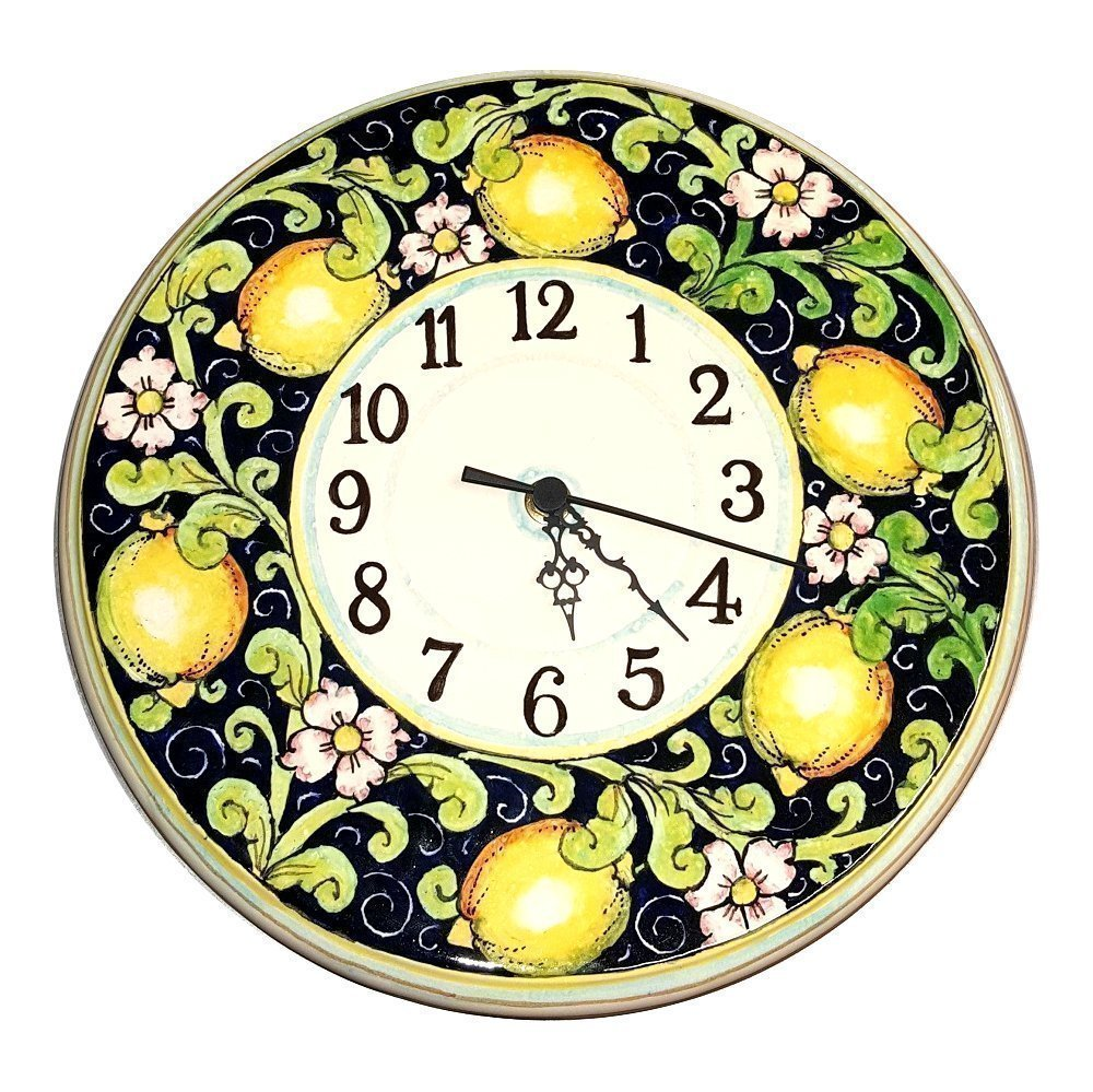 Lemon Design Italian Ceramic Round Wall Clock Hand Painted in Tuscany