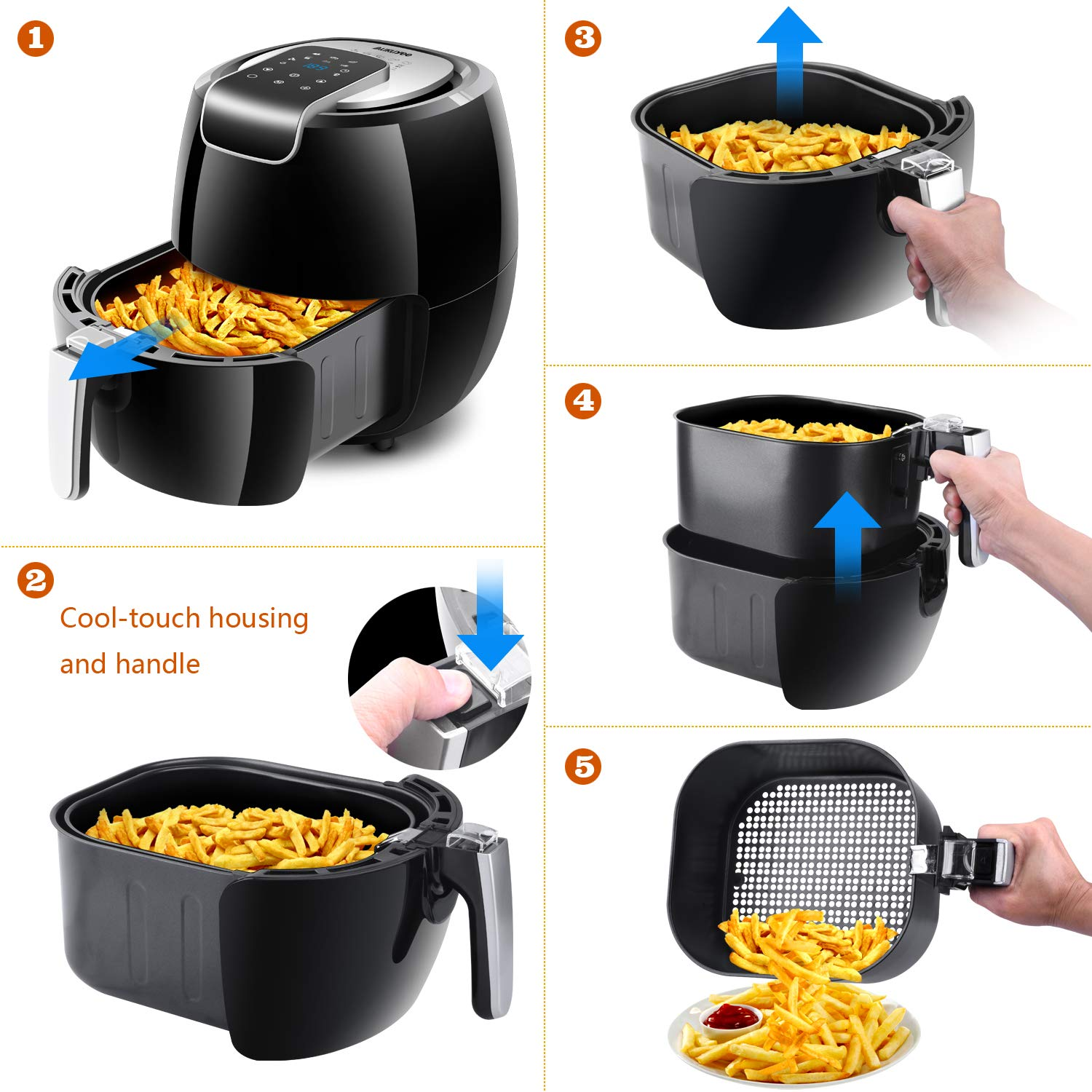 Air fryer XL 5.5QT AUKUYEE Oil-less Electric Hot Air Fryer 5.6Qt 1800w in Family Size with Air Fry Recipe Book HQ11