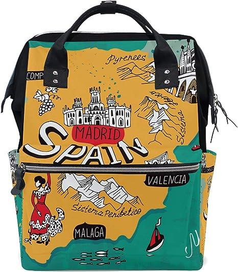 Mochila para pañales con mapa de España para mamá, tamaño grande ...