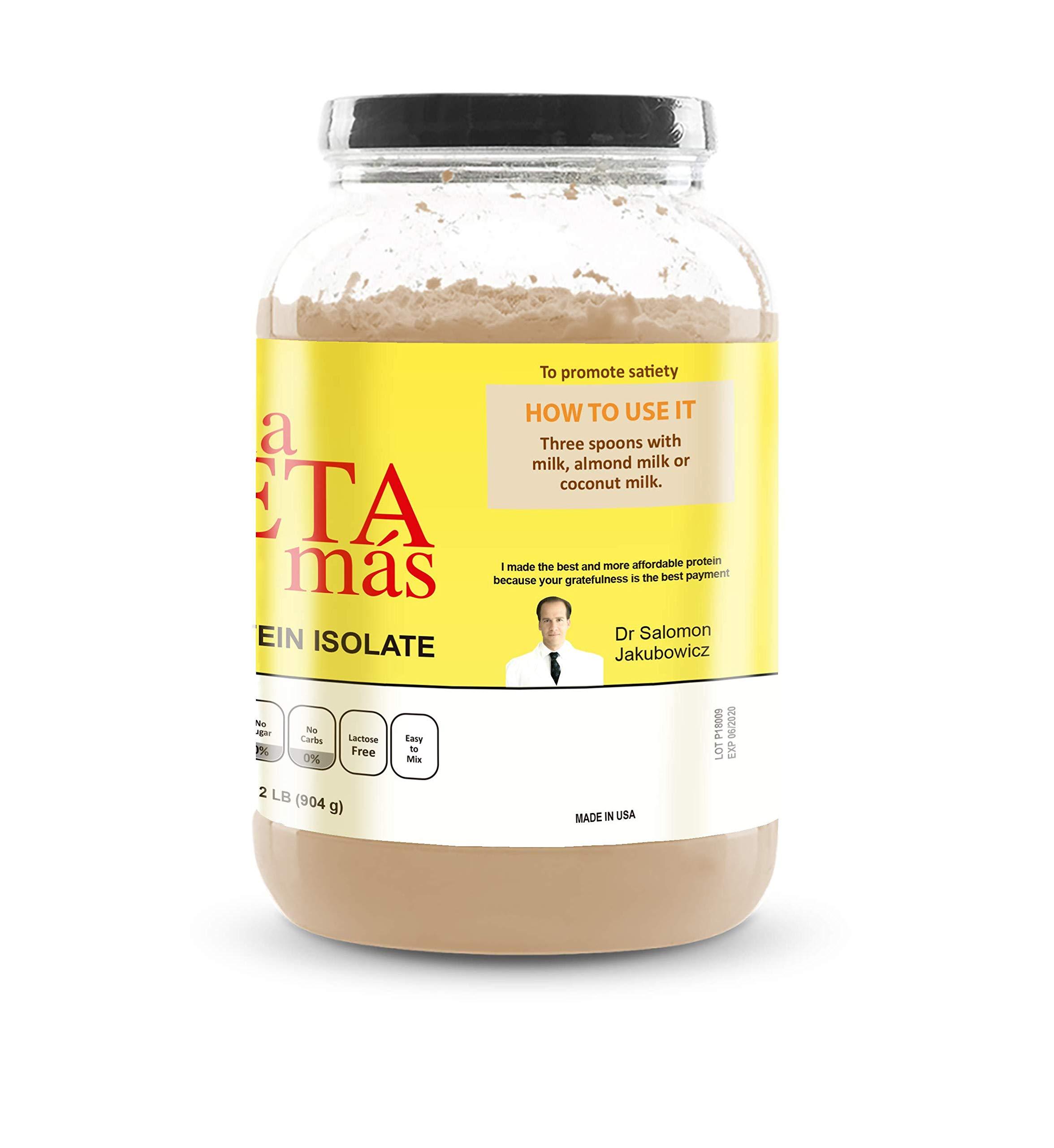 NI UNA DIETA MAS - Whey Protein Isolate (Delicious Chocolate) No Sugar, No Lactose, Easy to Mix by Ni una dieta más (Image #3)