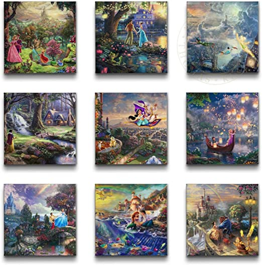 Thomas Kinkade Disney Set of 2 or Set of 4-14 x 14 Gallery Wrapped Canvases