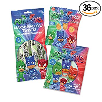 PJ Masks Cookies, and Candy Birthday Party Supply Pack for 12 Guests