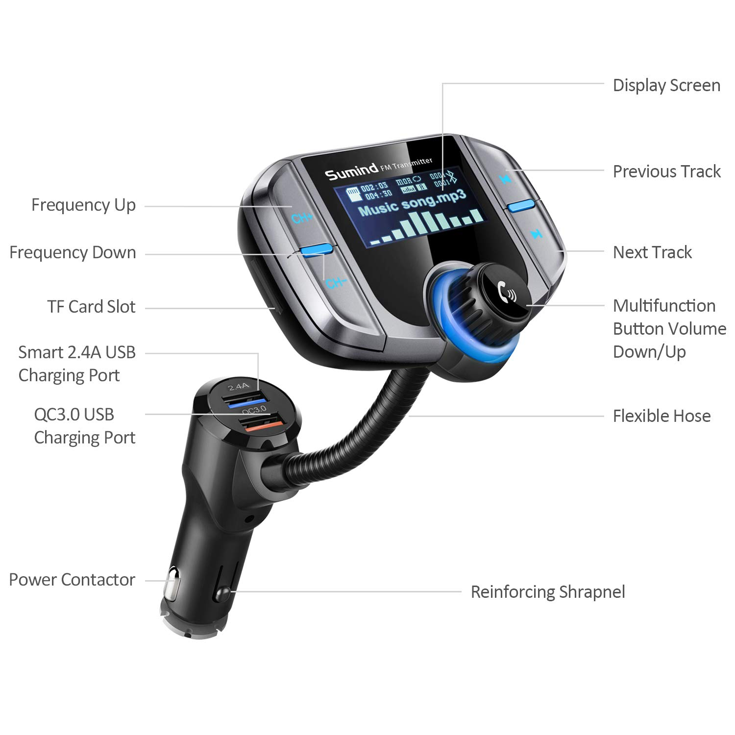 QC3.0//2.4A Dual USB Ports Sumind Wireless Radio Adapter AUX Input//Output Bluetooth Car Transmitter 1.7 Inch Display Mp3 Player with Magnetic Mount and Plate BT70B Car Bluetooth Fm Transmitter