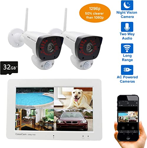 CasaCam VS2072 Wireless Security Camera System with 7 Touchscreen Monitor and 2pcs 1296p 3MP FHD Cameras, AC Powered, 32GB Micro SD Card Installed