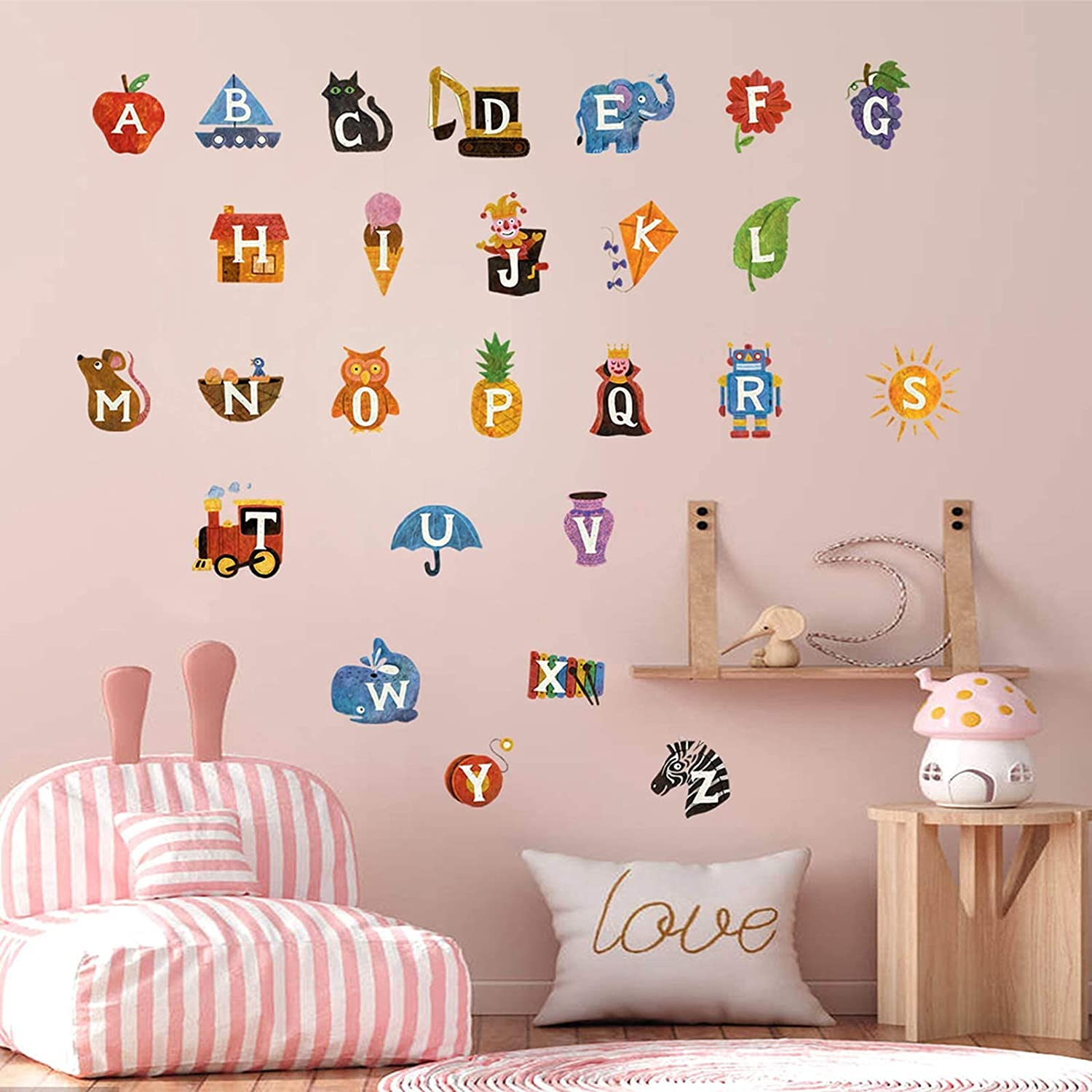 Alphabet Wall Decals for Kids Wall Decals, DILIBRA ABC Letters Educational Removeable Wall Stickers, Peel and Stick Mural Watercolor Home Decor Decoration for Classroom Nursery Bedroom
